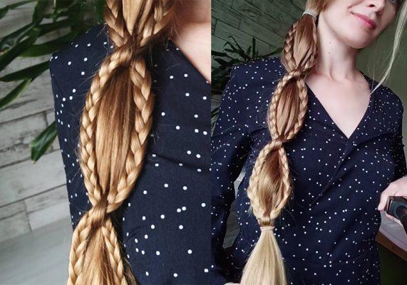 Простое плетение из двух кос